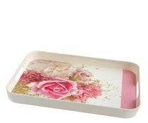 Tác melamin 39x29x4cm hluboký růžová růže
