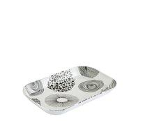 Tácek melamin 21x14cm černo bílé motivy
