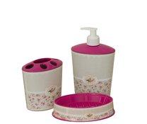 Koupel set růžový pták mýdlenka dávkovač držák