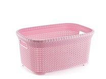 Koš na čisté prádlo 50x32x25 reliéf růžový