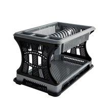 Odkapávač na nádobí 2 patra stříbrno-černý 45x30x29cm