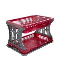 Odkapávač na nádobí 2 patra červený 45x30x29cm