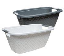 Koš na čisté prádlo,plast 39x26x59cm/bílá,šedá