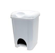 Odpadkový koš pedál 16L,plast bílý