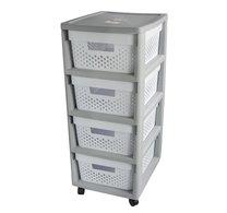 Regál s zásuvkami INFINITY 4x11L šedobílý 66x36x30cm