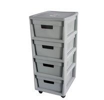 Regál s zásuvkami INFINITY 4x11L šedý 66x36x30cm