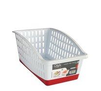 Košík plast bílý/červené lemování/14,5x14,5x27cm