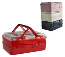 Přenosný box na potraviny,2 patra/červená,růžová,zelená,šedá/43x26x20cm