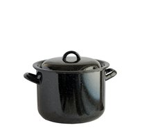 Hrnec s poklicí smalt černý 22 cm 6,5 L