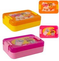 Svačinový box 14x20x6cm růžový, oranžový