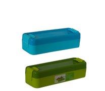 Svačinový box úzký 19x6x5cm  zelený, modrý