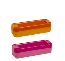 Svačinový box úzký 19x6x5cm růžový, oranžový