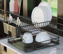 Odkap na nádobí matná černá/černá 36x30x21cm
