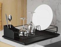 Odkap na nádobí matná černá/černá  48x33x12cm