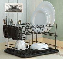 Odkap na nádobí matná černá/černá 35,5x29,5x24cm